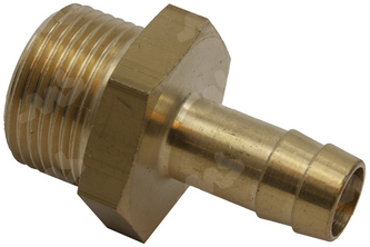 Messing slangpilaar/buitendraad 1/2 inch buitendraad, 8 mm