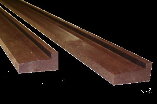 Gerecycled kunststof funderingsbalk 40 jaar, 1 stuk, bruin, 3 mtr