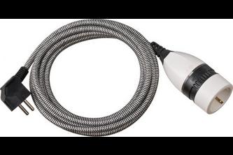 Brennenstuhl Kwalitatief hoogwaardige verlengkabel met draaischakelaar en textielmantel 3m H05VV-F 3G1,5 zwart/wit