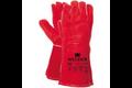 Majestic lashandschoen van rood splitleder 35 cm, 10 (xl)
