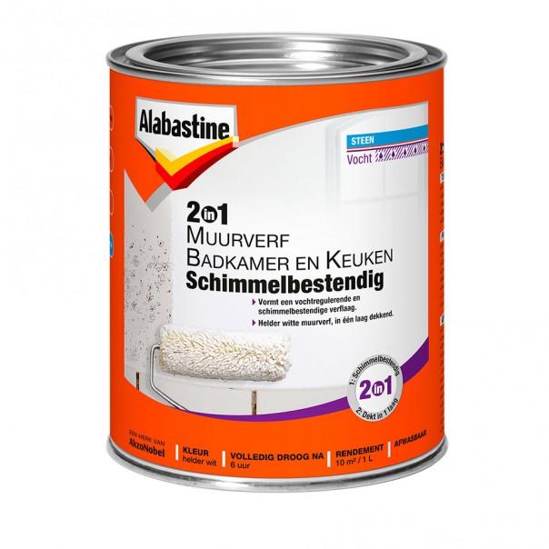 Afbeelding van Alabastine 2 in 1 muurverf badkamer en keuken schimmelbestendig l, wit, blik