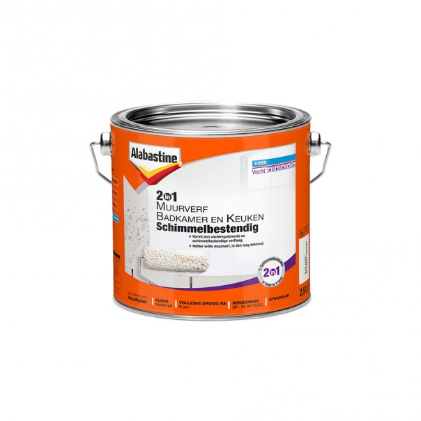 Afbeelding van Alabastine 2 in 1 muurverf badkamer en keuken schimmelbestendig 2,5 l, wit, blik