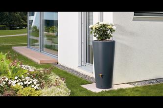 Garantia Regenton en Plantenbak 2 in 1 Vaso Grafiet Grijs