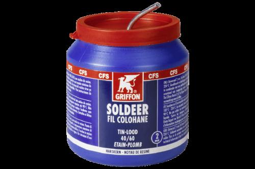 Griffon draadsoldeer tin/lood 40/60 harskern Ø 2 mm, 500 gr, pot