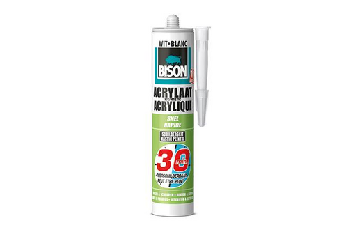 Bison acrylaatkit snel 30 minuten 310 ml, wit, koker