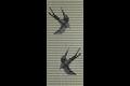 Sun-arts deurgordijn met hulzen zwaluwen creme 90x210cm, zwaluwen crème – zwart – zilver, hulzen
