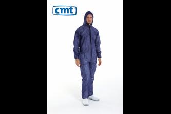 Coverall met rits, capuchon en elastiek blauw XL