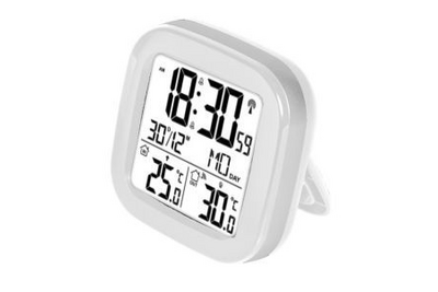 Fackelmann Tecno draadloze thermometer radio/klokje wit