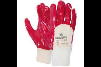 Handschoen PVC rood met tricot manchet en ventilerende rugzijde