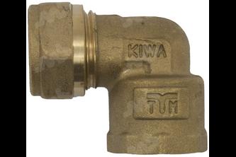 Knie koppeling messing knel/binnendraad - 8 mm, 3/8 inch buitendraad