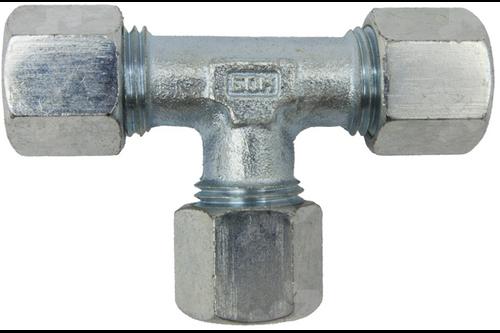 T-stuk knelkoppeling staal 6 mm