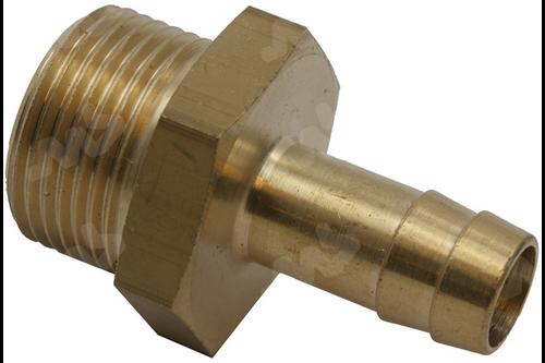 Messing slangpilaar/buitendraad - 3/4 inch buitendraad, 13 mm 1/2 inch buitendraad, 8 mm