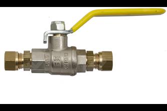 Kogelkraan knelkoppeling- gas 12 mm