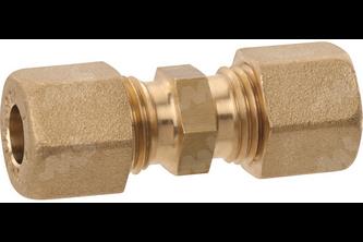 Rechte knelkoppeling messing - 6 mm 6 mm