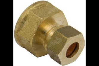 Rechte koppeling messing knel/binnendraad 3/8 inch binnendraad, 8 mm