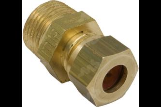 Rechte koppeling messing knel / buitendraad 1/4 inch buitendraad, 12 mm