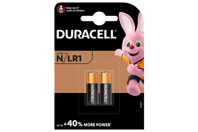 Duracell knoopcelbatterij MN9100/LR1 alkaline staafbatterij 1,5 volt BP2