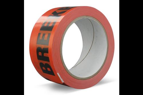 Technotape bedrukte verpakkingstape breekbaar pvc solvent 50 mm x 66 m x 33µ, oranje | zwarte letter