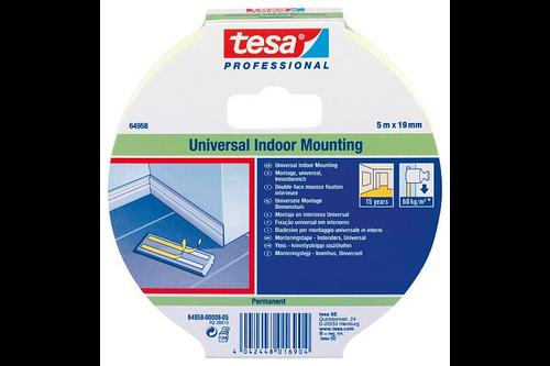 Tesa professional universele montagetape 19 mm x 5 meter, wit