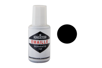 Kingston Emaille Reparatie Tip Zijdeglans, 20 ML, Grafietzwart, RAL 9011, Flacon met kwast