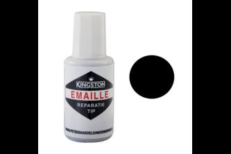 Kingston Emaille Reparatie Tip 20 ML, Zwart Zijdeglans, RAL 9005, Flacon + kwast