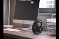 Perel design ventilator met usb-aansluiting - zwart met handgreep (lederaspect)