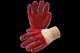 Majestic Handschoen PVC rood met tricot manchet en gesloten rugzijde